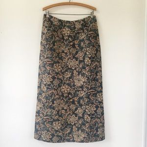 SUNDANCE Linen & Silk Floral Maxi Skirt